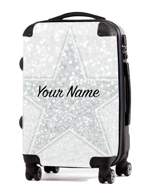 "White Glitter Stars - 20"" Carry-On Luggage"