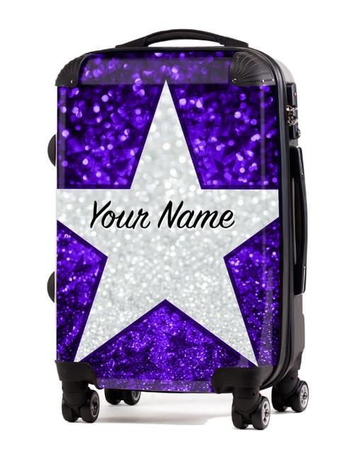 """Purple Glitter Stars - 24"""" Check In Luggage"""