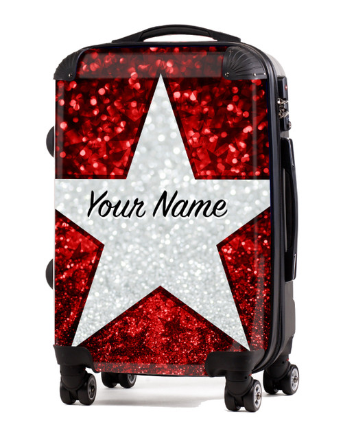 """Red Glitter Stars - 24"""" Check In Luggage"""
