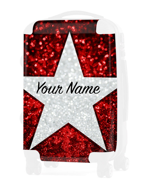 "Red Glitter Stars - Graphic Insert for - 24"" Check In Luggage"