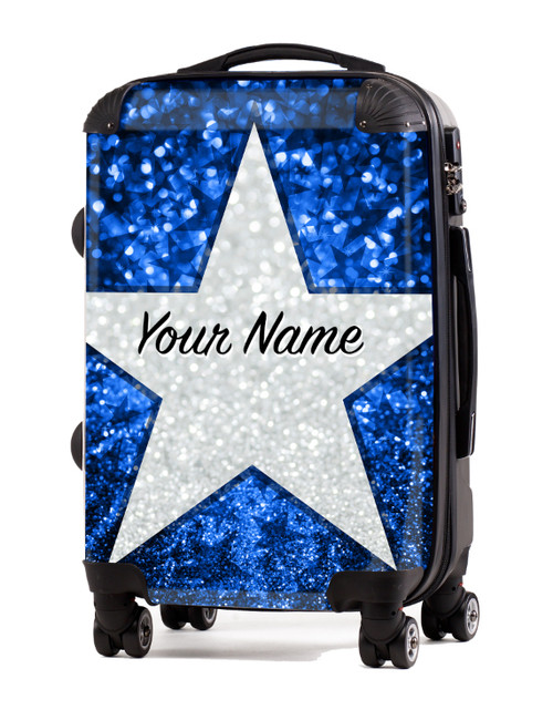 """Baby Blue Glitter Stars - 24"""" Check In Luggage"""