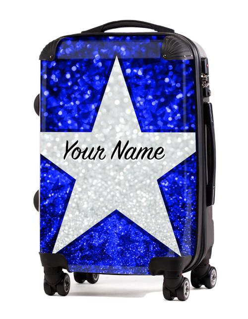 "Blue Glitter Stars - 24"" Check In Luggage"