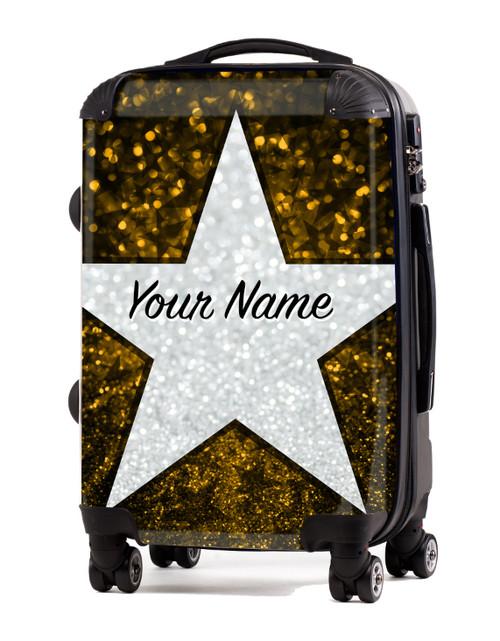 "Yellow Glitter Stars - 24"" Check In Luggage"