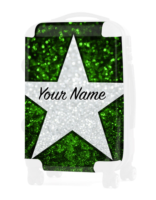 """Green Glitter Stars - Graphic Insert for - 24"""" Check In Luggage"""