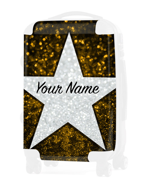 "Yellow Glitter Stars - Graphic Insert for - 24"" Check In Luggage"