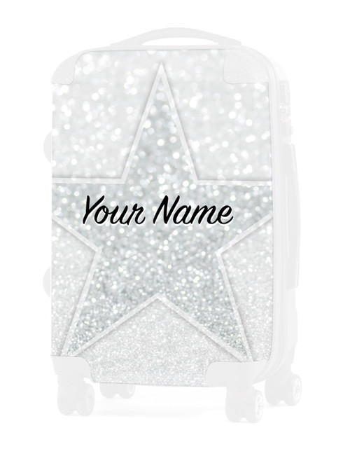 """White Glitter Stars  - Graphic Insert for - 24"""" Check In Luggage"""