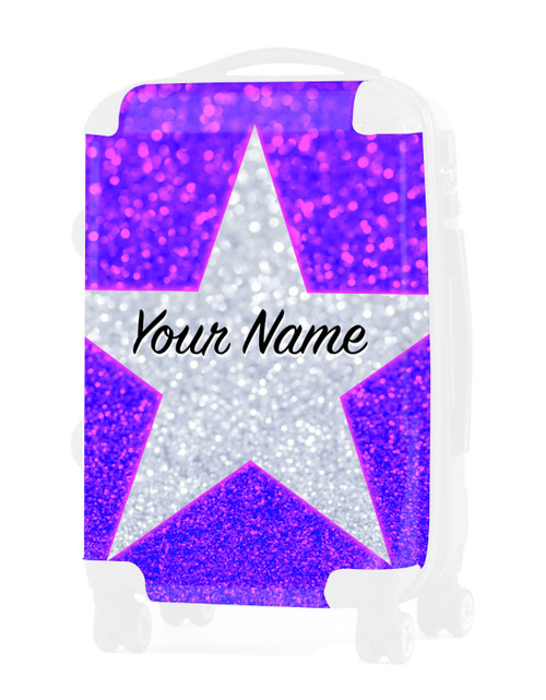 "Pink Blue Glitter Stars - Graphic Insert for - 24"" Check In Luggage"