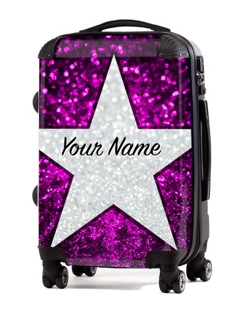 """Pink Glitter Stars - 24"""" Check In Luggage"""
