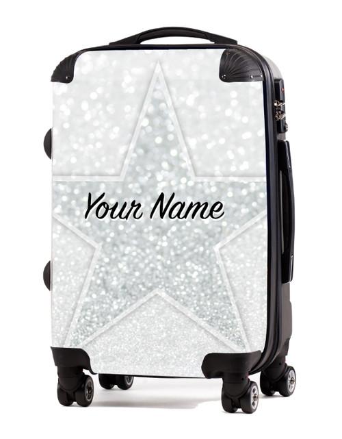 "White Glitter Stars - 24"" Check In Luggage"