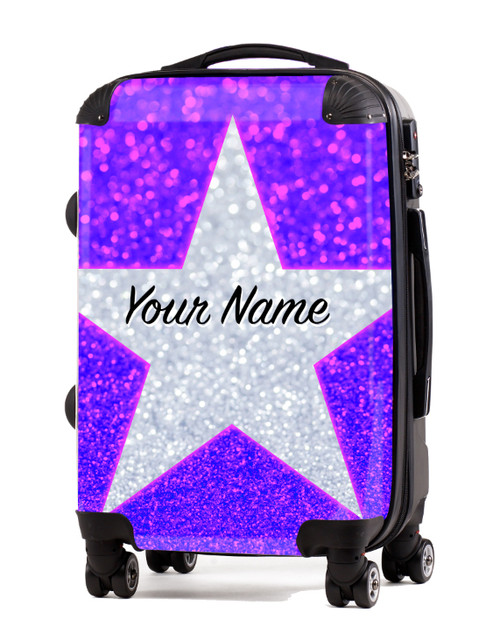 """Pink Blue Glitter Stars - 24"""" Check In Luggage"""