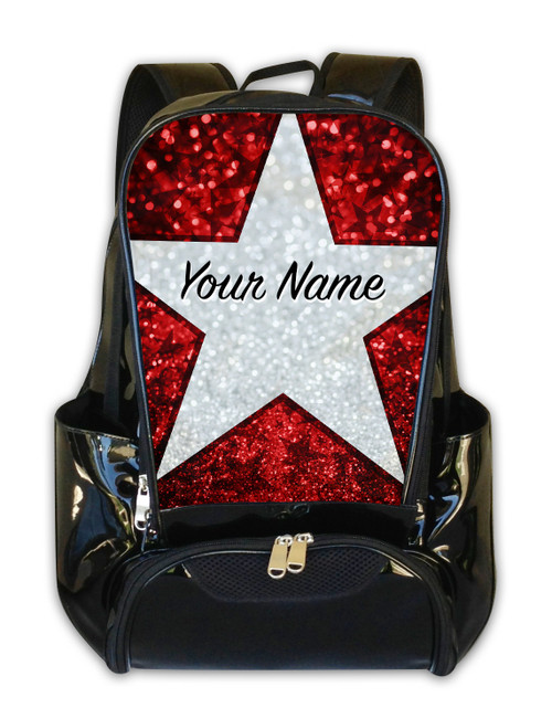 Red Glitter Stars Personalized Backpack