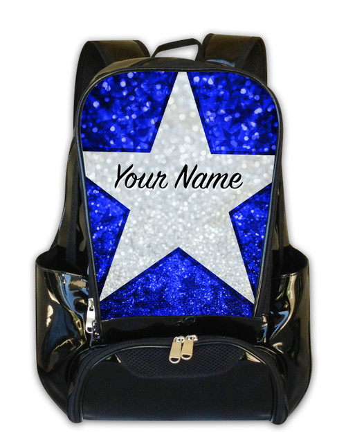 Blue Glitter Stars Personalized Backpack