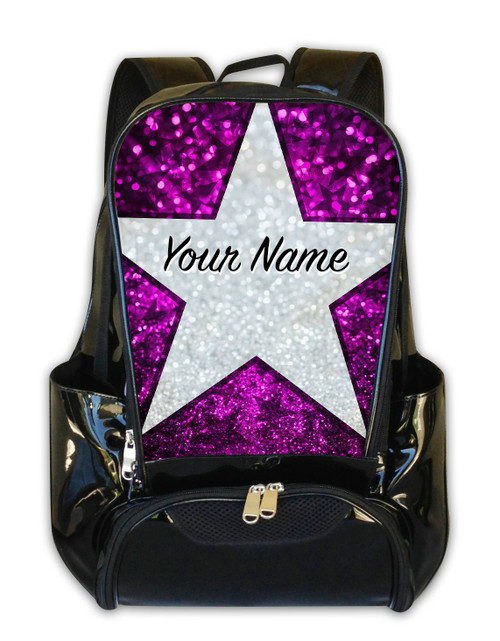 Pink Glitter Stars Personalized Backpack