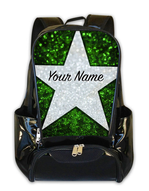 Green Glitter Stars Personalized Backpack