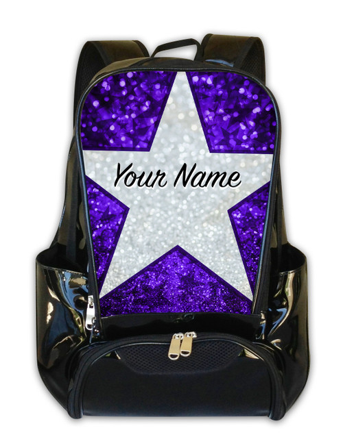 Purple Glitter Stars Personalized Backpack