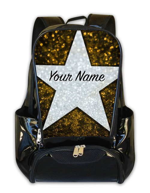Yellow Glitter Stars Personalized Backpack