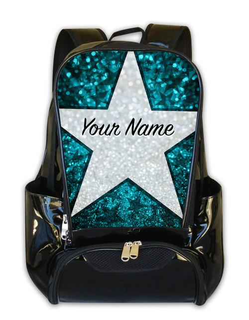Teal Glitter Stars Personalized Backpack