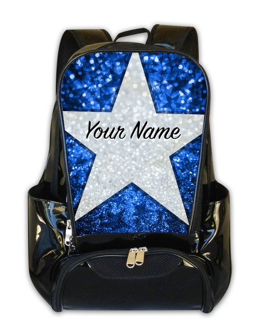 Baby Blue Glitter Stars Personalized Backpack