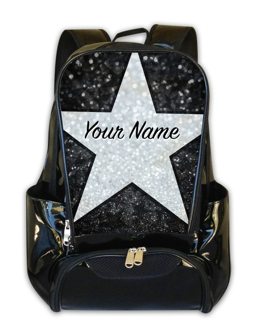 Black Glitter Stars Personalized Backpack