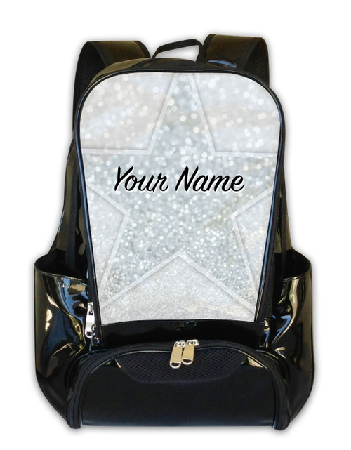 White Glitter Stars Personalized Backpack