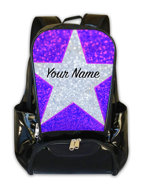 Pink Blue Glitter Stars Personalized Backpack