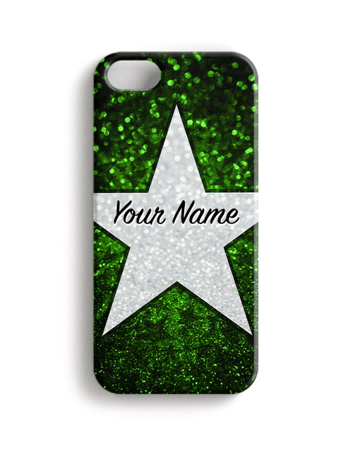 Green Glitter Stars - Phone Snap on Case