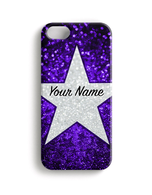 Purple Glitter Stars - Phone Snap on Case