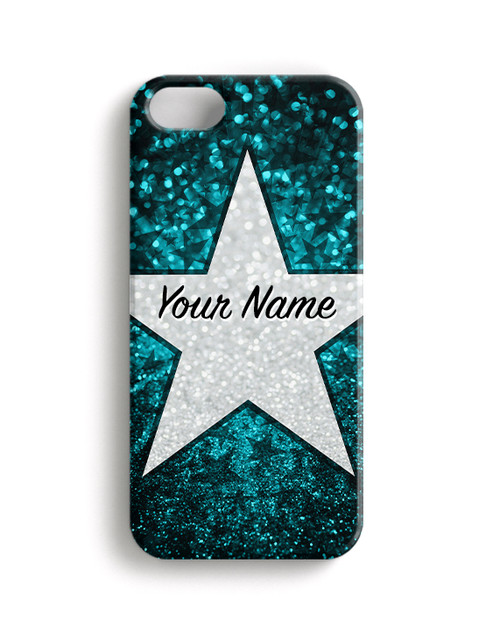 Teal Glitter Stars - Phone Snap on Case