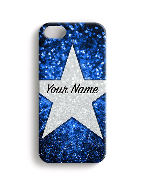 Baby Blue Glitter Stars - Phone Snap on Case