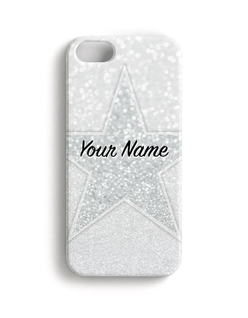 White Glitter Stars - Phone Snap on Case