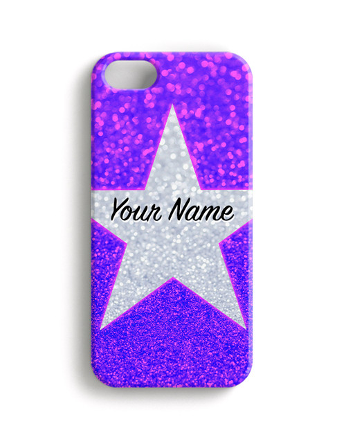 Pink Blue Glitter Stars - Phone Snap on Case