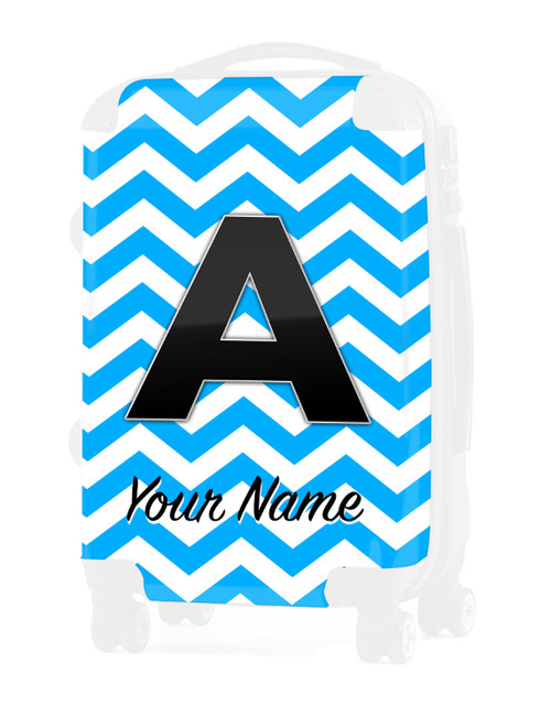 "Baby Blue Chevron - Graphic Insert for 20"" Carry-on Luggage"