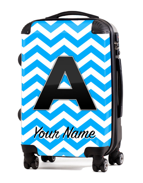 "Baby Blue-Black Chevron - 20"" Carry-On Luggage"