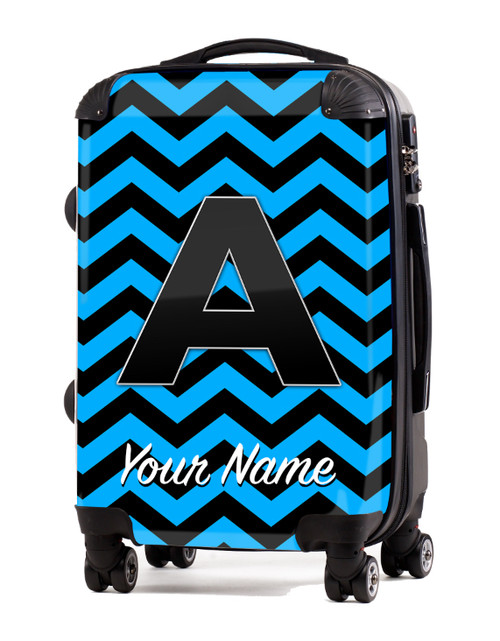 "Baby Blue-Black Chevron - 24"" Check-in Luggage"