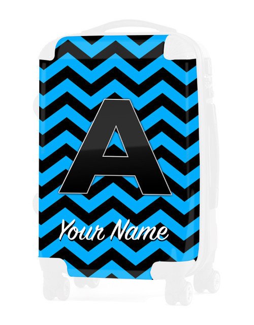 "Baby Blue-Black Chevron - Graphic Insert for 20"" Carry-on Luggage"
