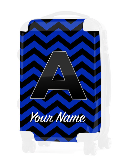"Blue-Black Chevron - Graphic Insert for 20"" Carry-on Luggage"