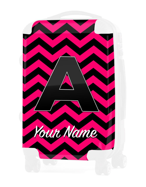 "Fuschia-Black Chevron - Graphic Insert for 20"" Carry-on Luggage"