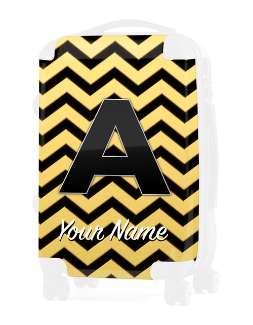"""Gold-Black Chevron - Graphic Insert for 24"""" Check-in Luggage"""