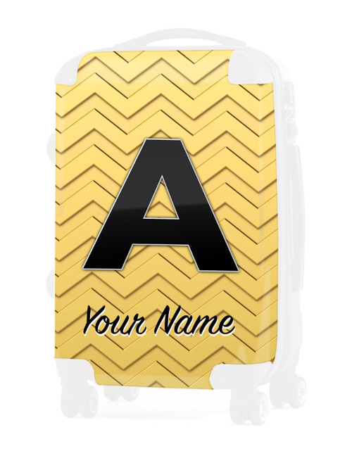 """Gold-Gold Chevron - Graphic Insert for 24"""" Check-in Luggage"""