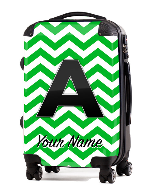 "Green Chevron - 20"" Carry-On Luggage"