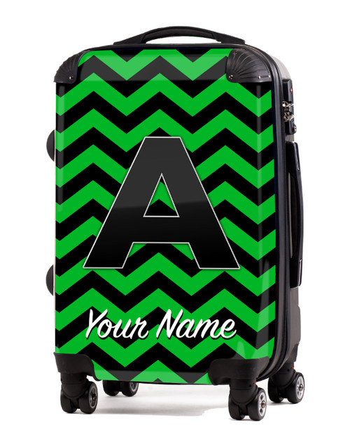 "Green-Black Chevron - 20"" Carry-On Luggage"