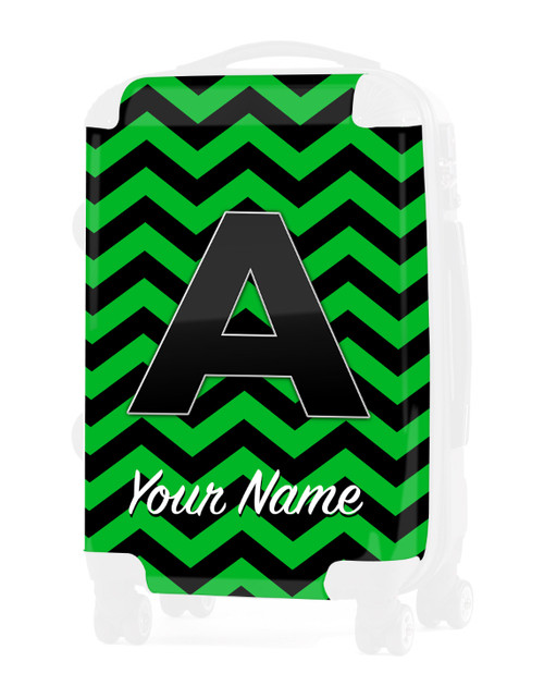 """Green-Black Chevron - Graphic Insert for 24"""" Check-in Luggage"""