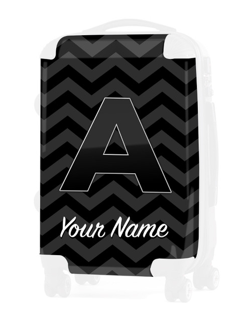 """Grey-Black Chevron - Graphic Insert for 24"""" Check-in Luggage"""