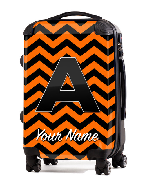 "Orange-Black Chevron - 20"" Carry-On Luggage"