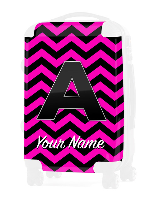 """Pink-Black Chevron - Graphic Insert for 24"""" Check-in Luggage"""