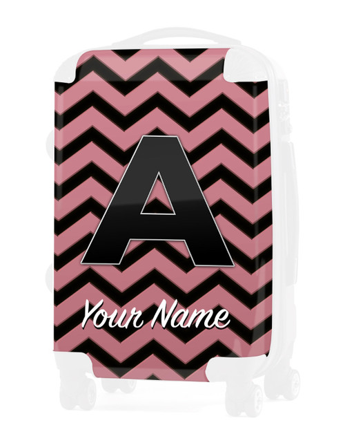 """Rose Gold-Black Chevron - Graphic Insert for 24"""" Check-in Luggage"""
