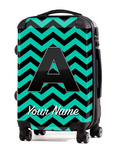 """Teal-Black Chevron - 20"""" Carry-On Luggage"""