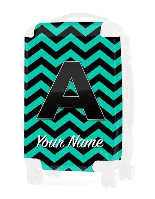 """Teal-Black Chevron - Graphic Insert for 24"""" Check-in Luggage"""