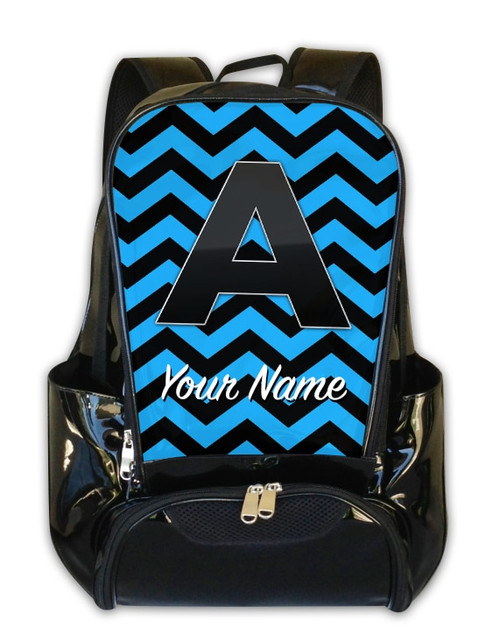 Baby Blue-Black Chevron - Personalized Backpack