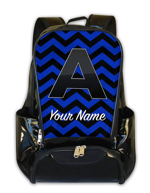 Blue-Black Chevron - Personalized Backpack